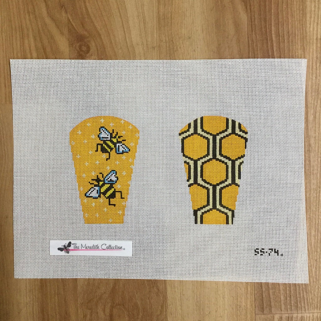 Bee and Honeycomb Scissor Case Canvas - KC Needlepoint