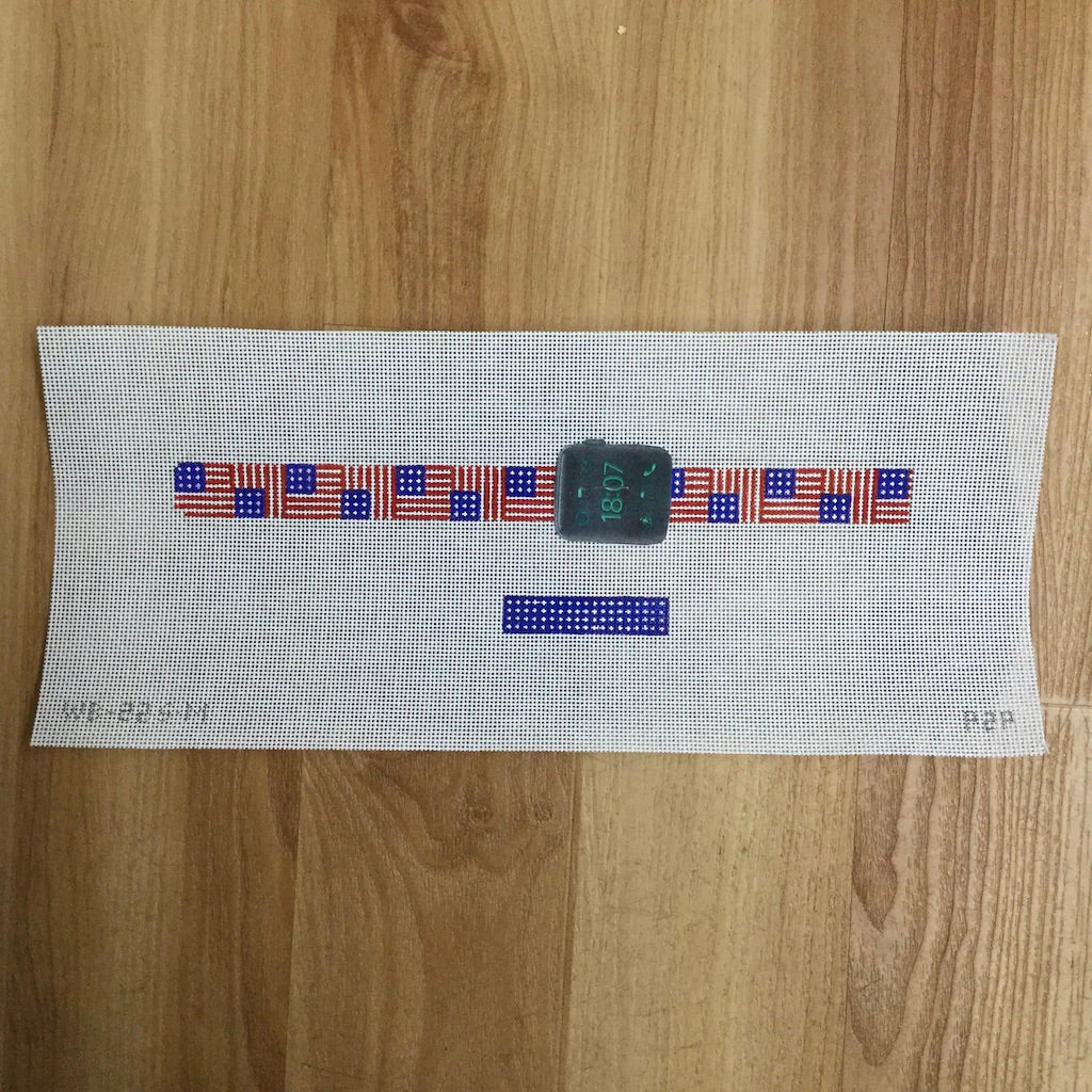 Apple Watch Strap Canvas-Needlepoint Canvas-Point2Pointe-American Flag-KC Needlepoint