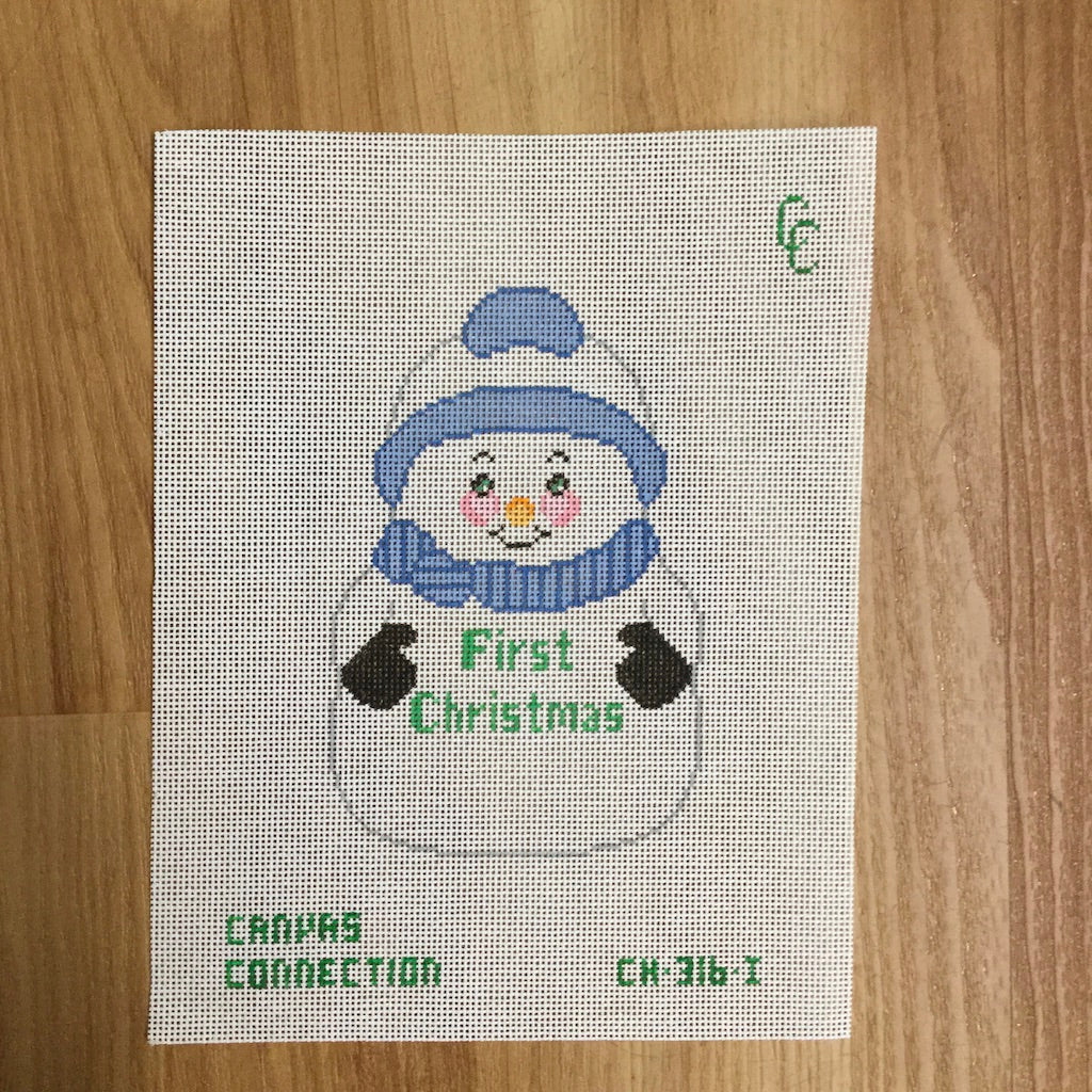 First Christmas Snowman with Blue Canvas-Needlepoint Canvas-Canvas Connection-KC Needlepoint