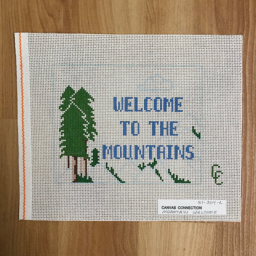 Welcome to the Mountains Canvas-Needlepoint Canvas-Canvas Connection-KC Needlepoint