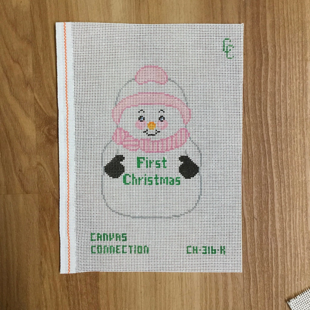First Christmas Snowman with Pink Canvas-Needlepoint Canvas-Canvas Connection-KC Needlepoint