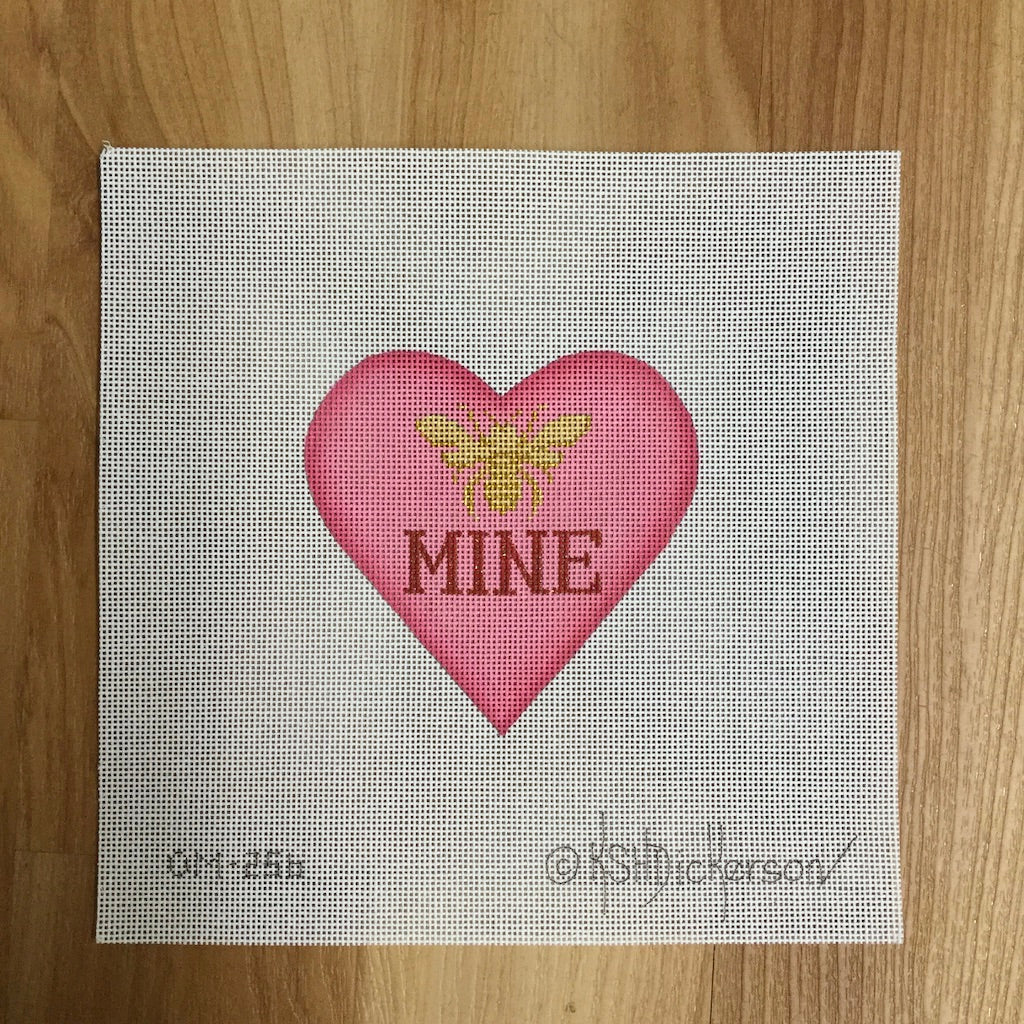 Bee Mine Heart Needlepoint Canvas - KC Needlepoint