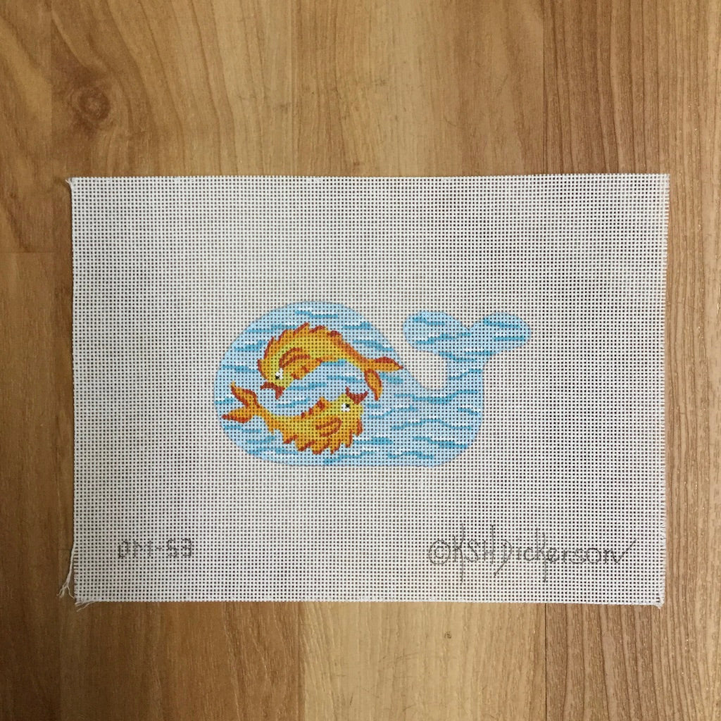 Fish on Whale Needlepoint Canvas