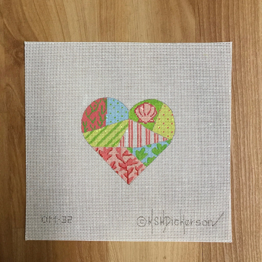 Seashore Patchwork Mini Heart Needlepoint Canvas