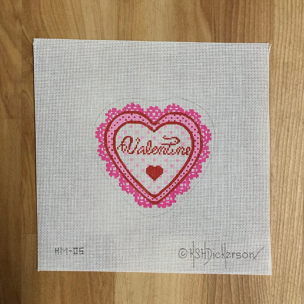 Valentine Heart Needlepoint Canvas-Needlepoint Canvas-Kate Dickerson-KC Needlepoint