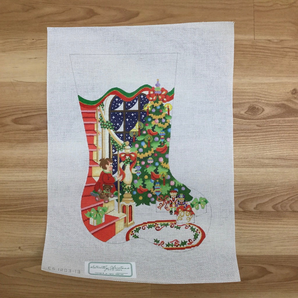 Staircase with Decorated Tree and Boy Stocking Canvas - needlepoint