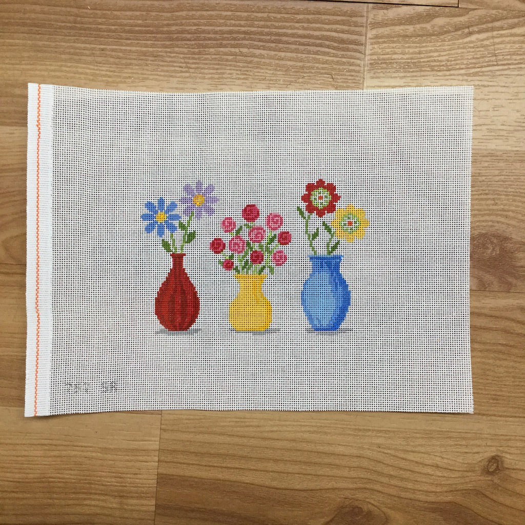 Flower Vases Canvas-Needlepoint Canvas-Susan Roberts-KC Needlepoint