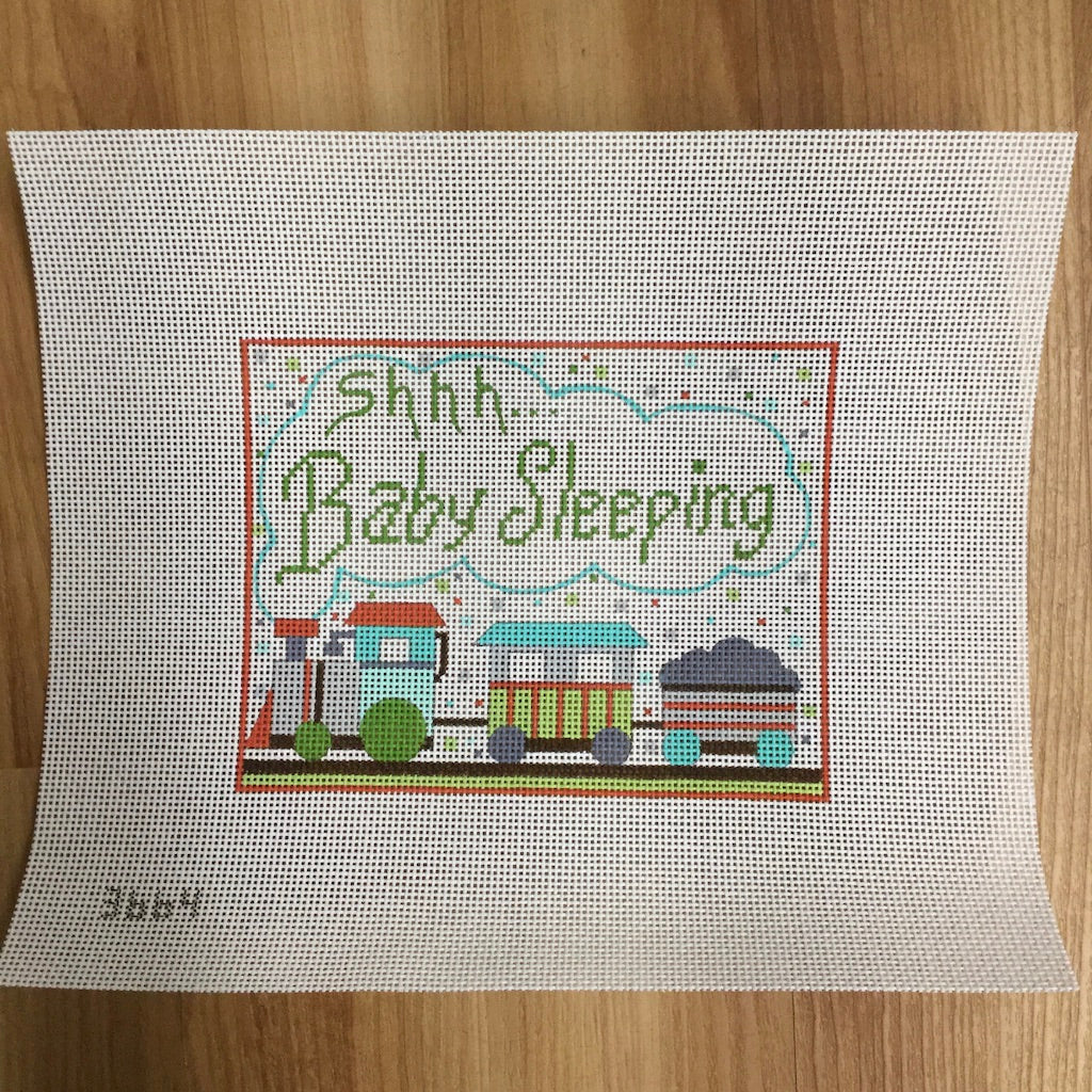 Shhh... Baby Sleeping Train Canvas - needlepoint