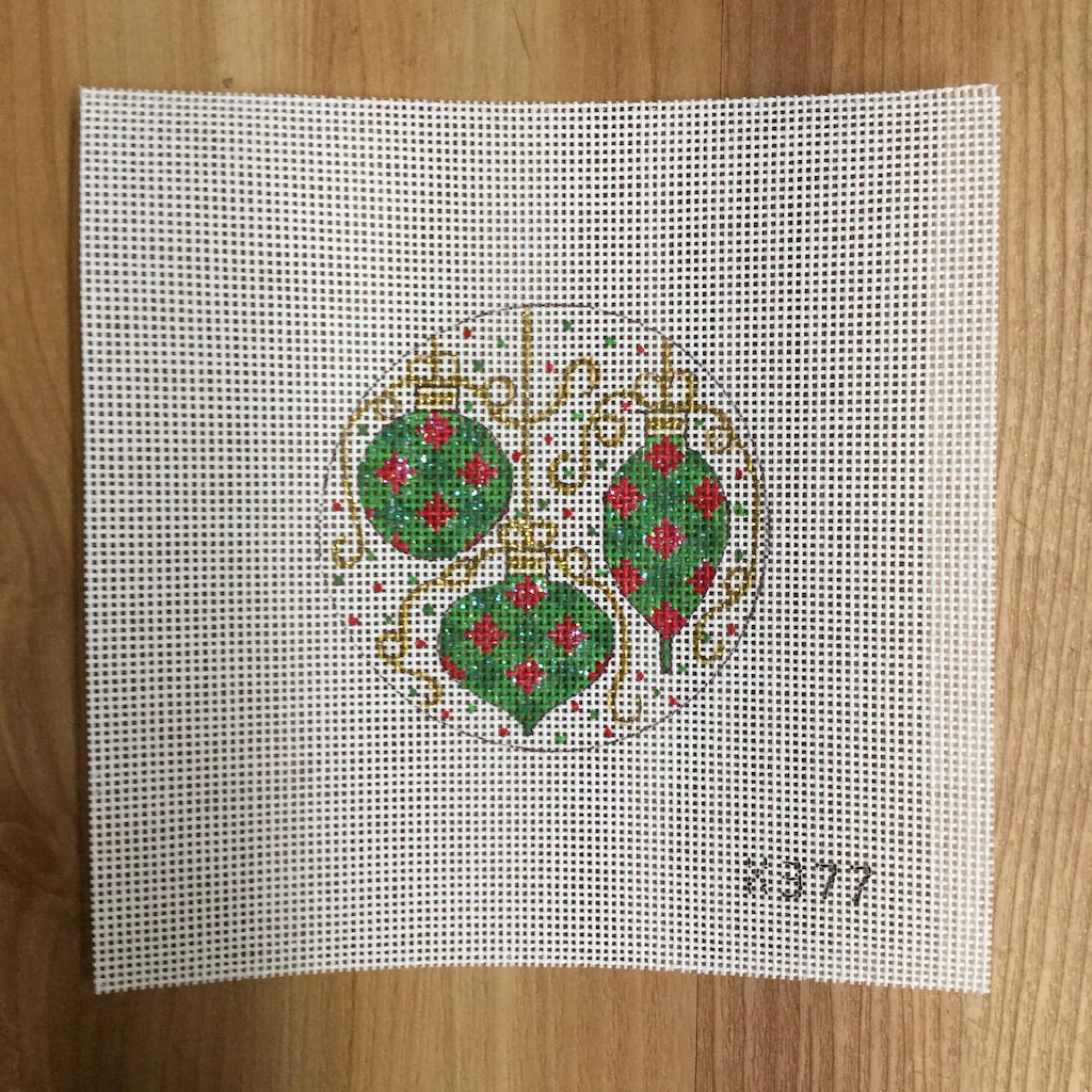 Green Ornaments Canvas-Needlepoint Canvas-Alice Peterson-KC Needlepoint