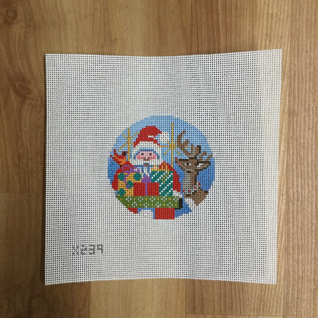 Santa and Reindeer Canvas-Needlepoint Canvas-Alice Peterson-KC Needlepoint