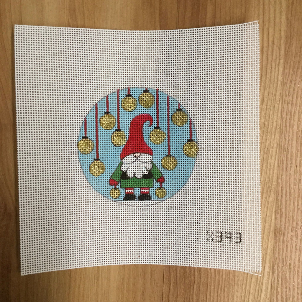 Gnome and Ornaments Canvas-Needlepoint Canvas-Alice Peterson-KC Needlepoint