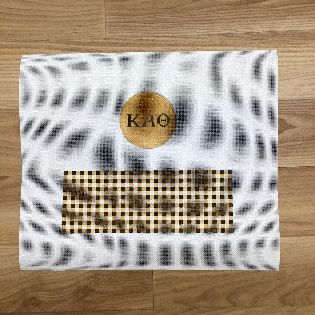 Kappa Alpha Theta Gingham Limoges Box Canvas-Needlepoint Canvas-KCN Designers-KC Needlepoint
