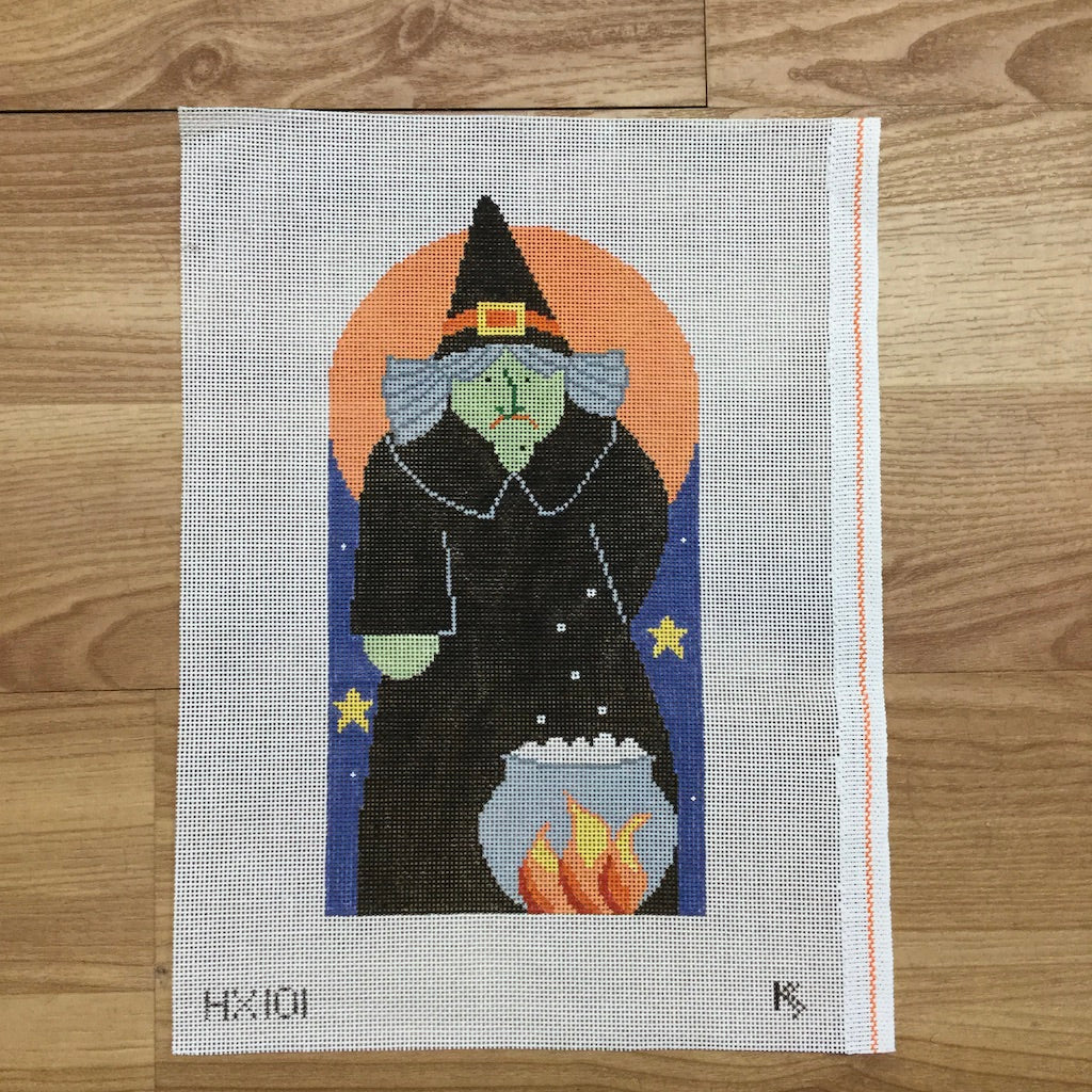 Witch with Jack O Lantern Button Canvas - KC Needlepoint