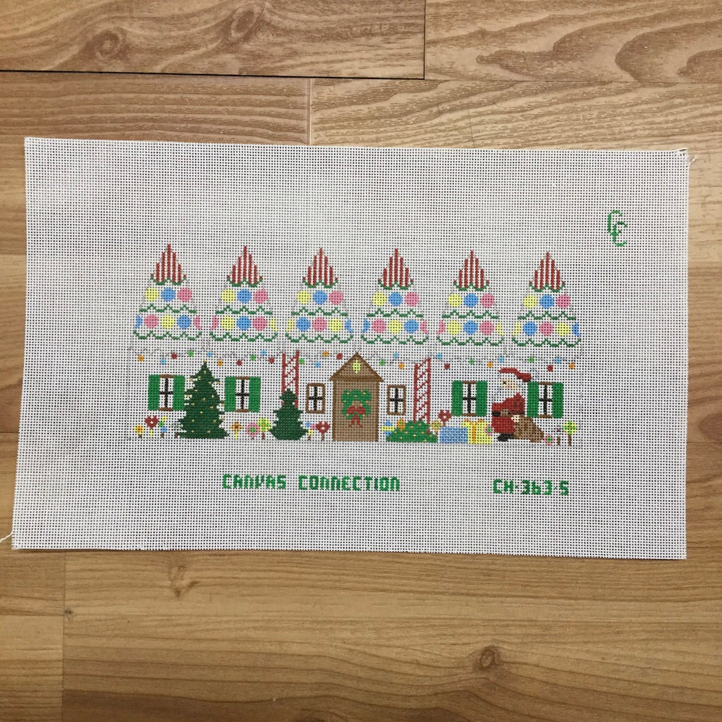 Christmas House Carousel Canvas-Needlepoint Canvas-Canvas Connection-KC Needlepoint