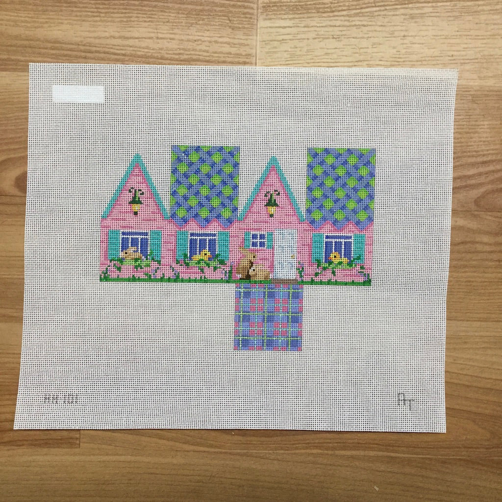 Easter Cottage Blue Lattice Roof Canvas - needlepoint