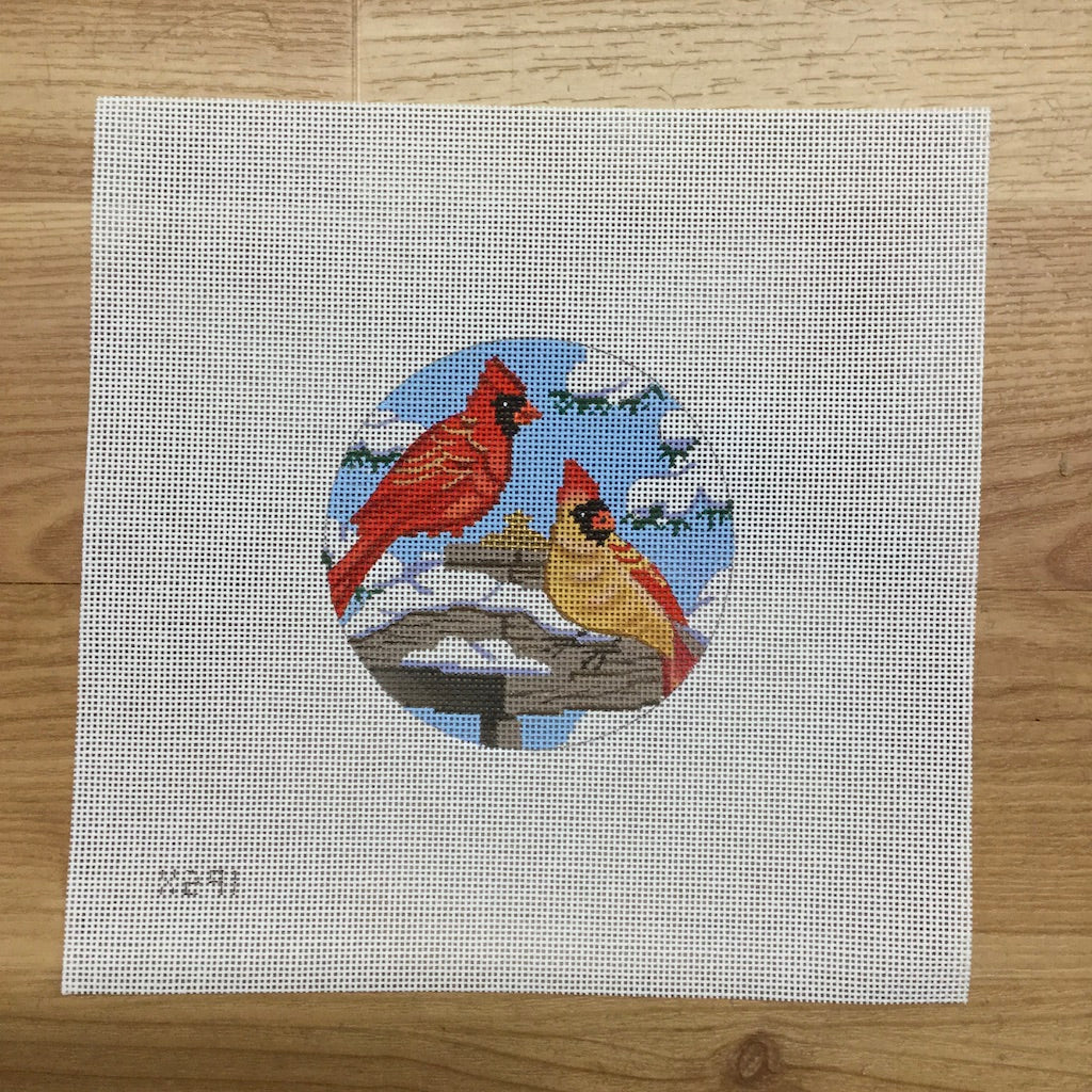 Two Cardinals Round Canvas-Needlepoint Canvas-Alice Peterson-KC Needlepoint