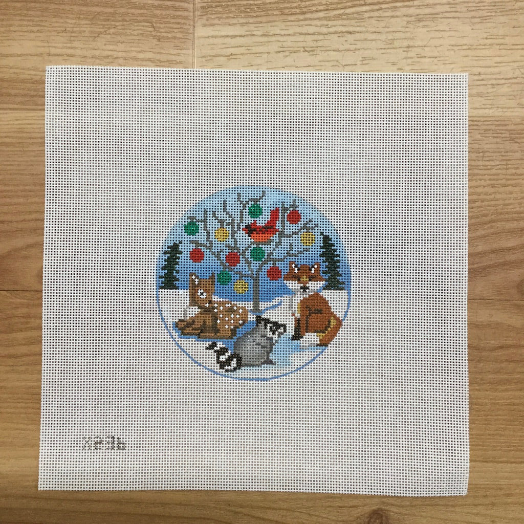 Animals and Tree Round Canvas-Needlepoint Canvas-Alice Peterson-KC Needlepoint