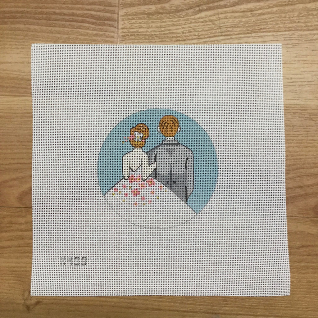 Bride and Groom Round Canvas - needlepoint