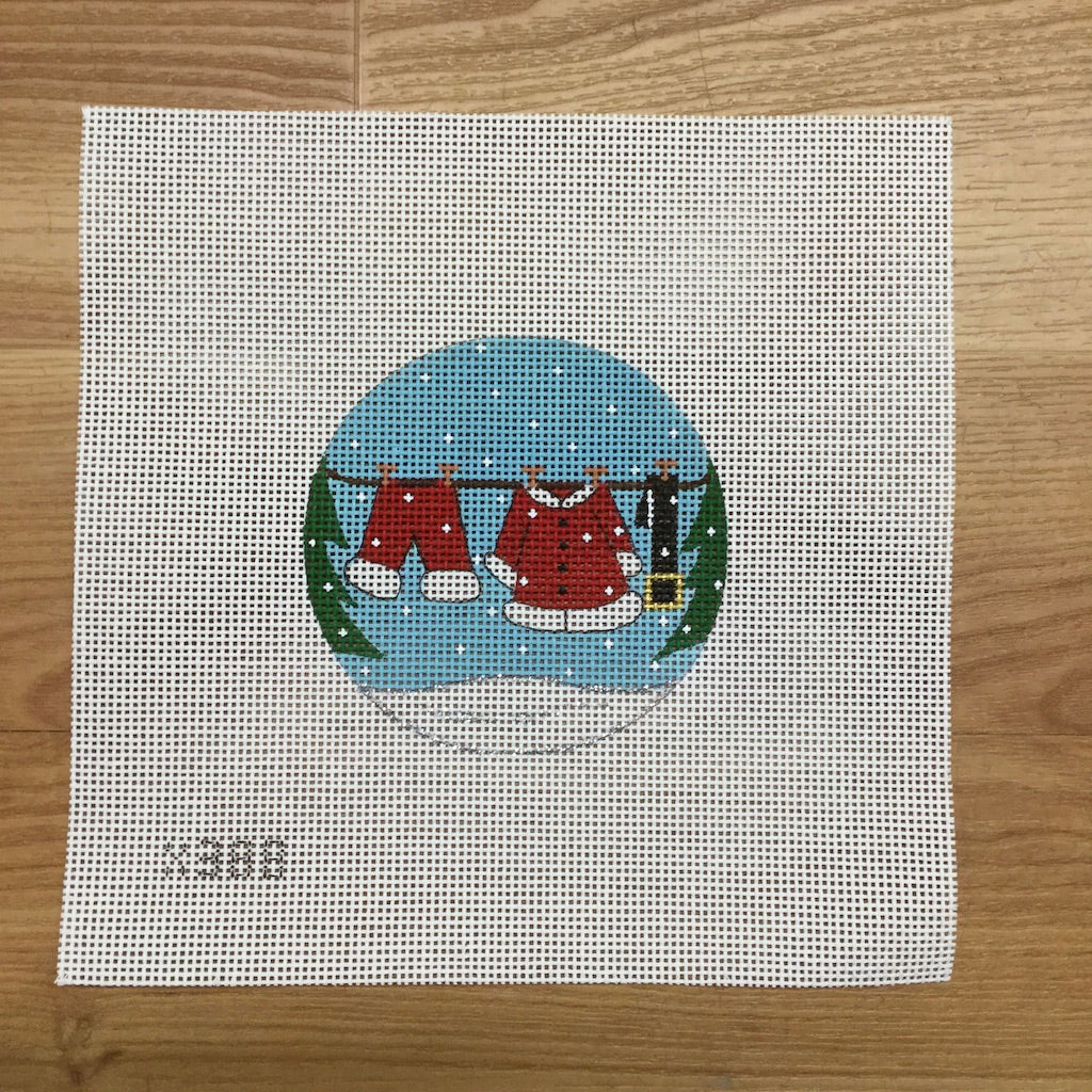 Santa Clothesline Round Canvas-Needlepoint Canvas-Alice Peterson-KC Needlepoint