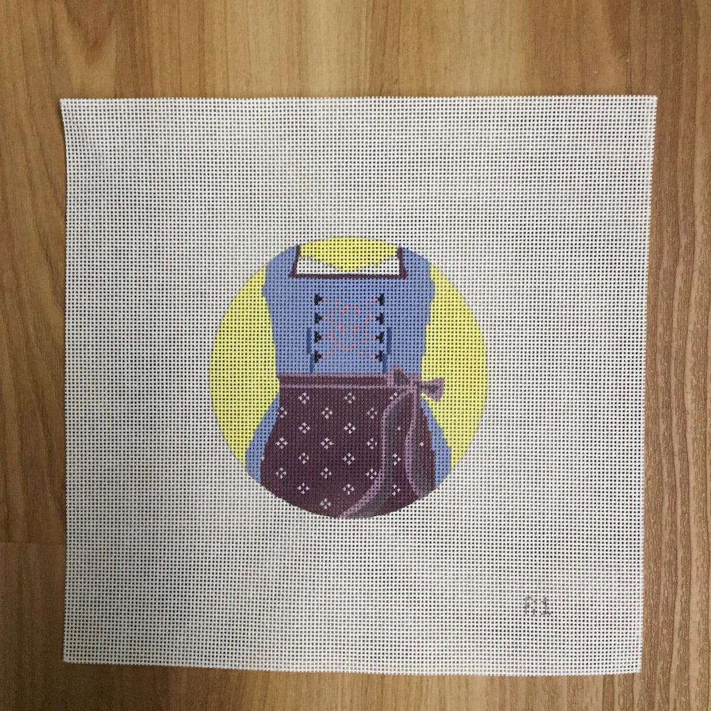 Dirndl Round Needlepoint Canvas - needlepoint