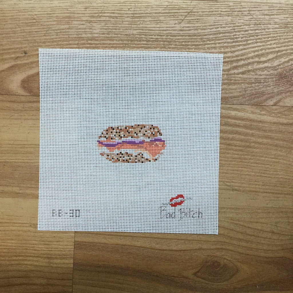 Bagel and Lox Canvas - KC Needlepoint