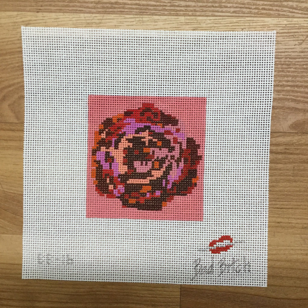Mini Pixelated Rose with Coral Canvas