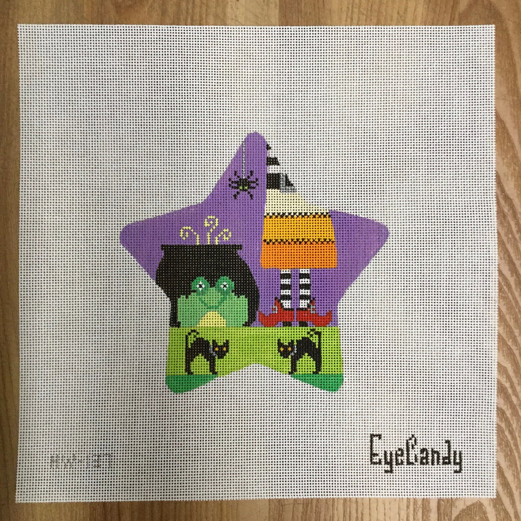 Frog Spooky Star Canvas - needlepoint