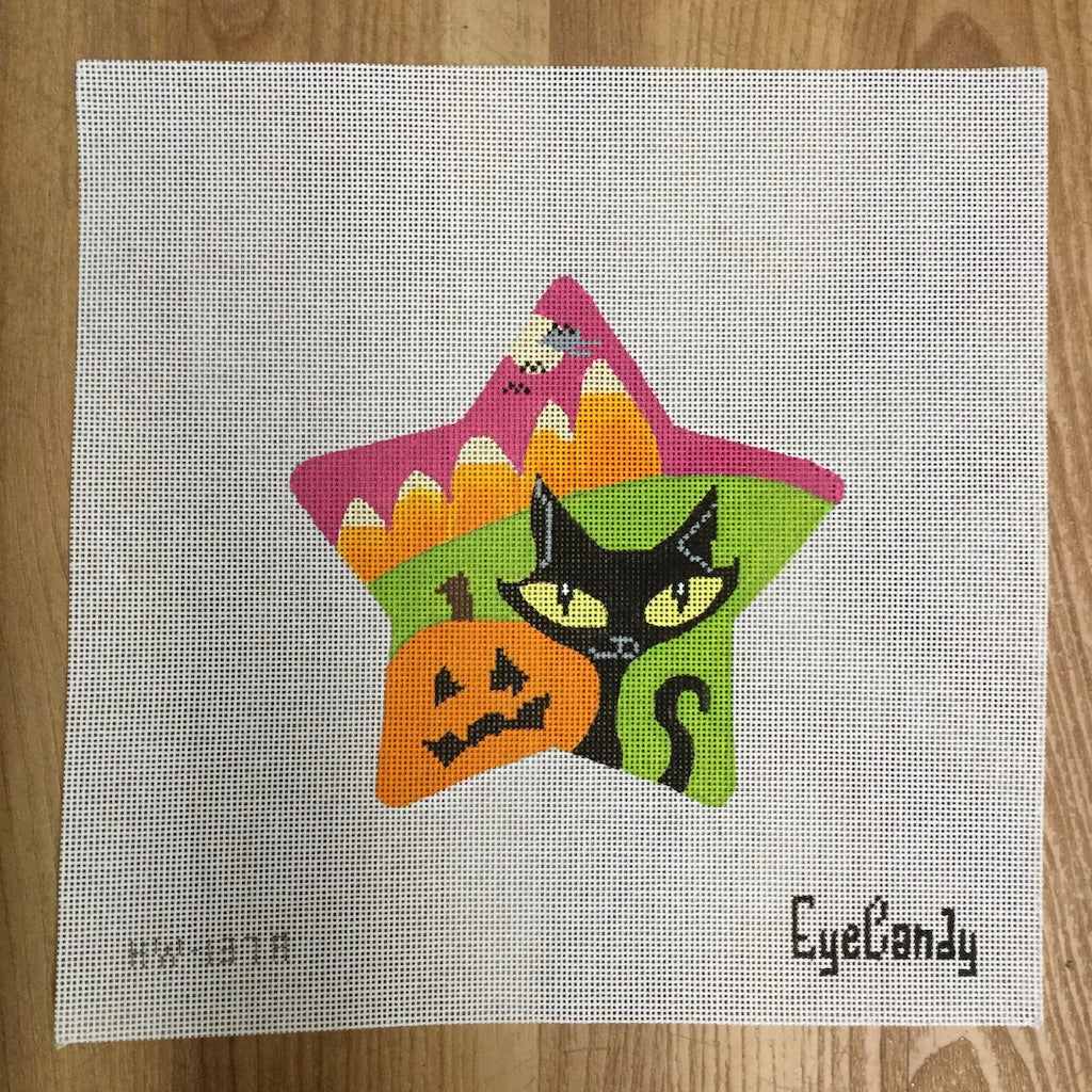 Kitty Spooky Star Canvas - needlepoint