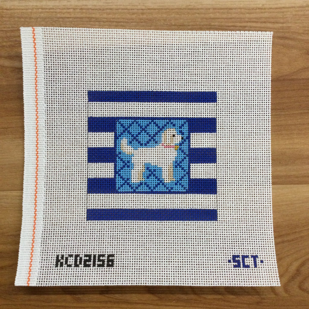 White Doodle on Stripes Square - needlepoint