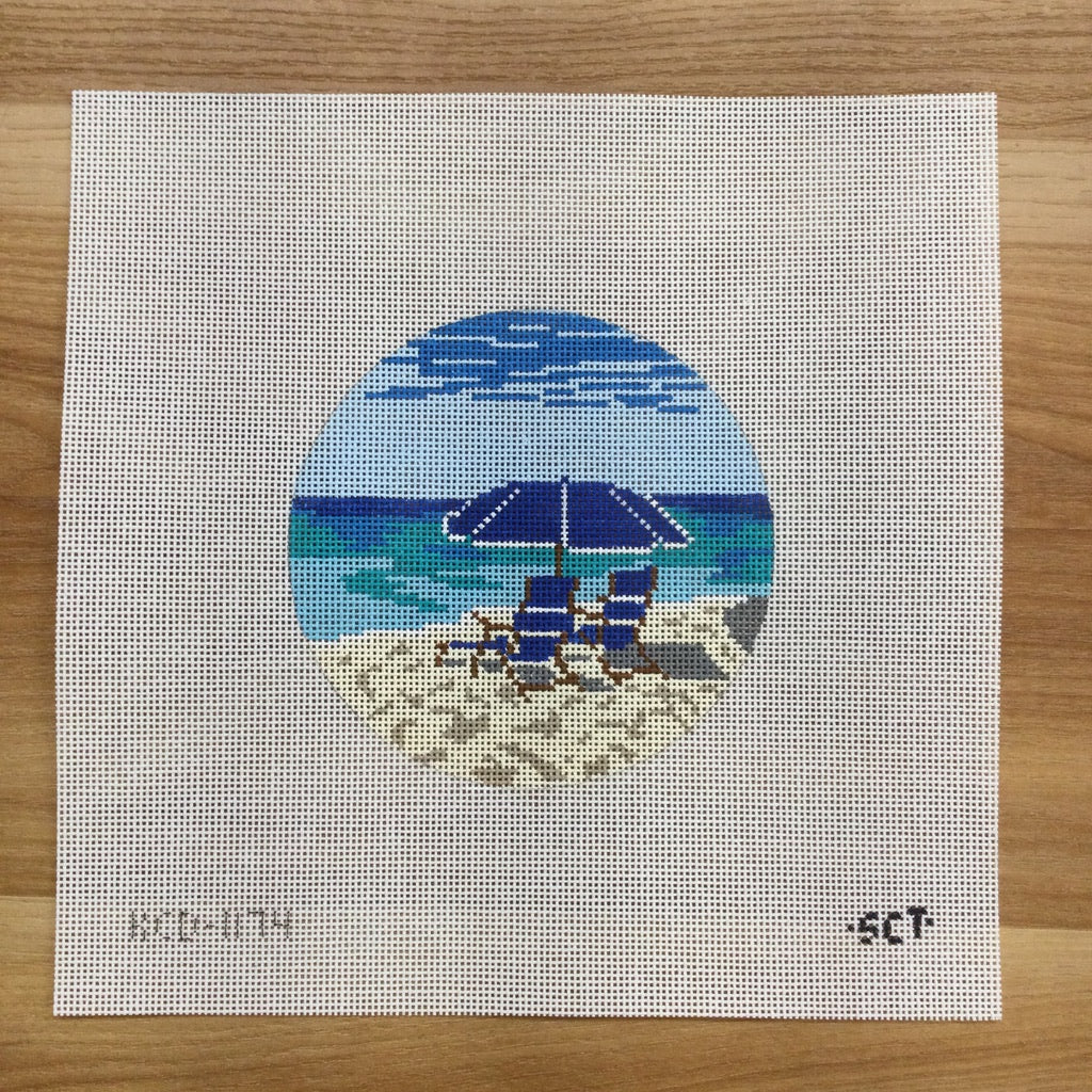 Beach Chairs Canvas - needlepoint