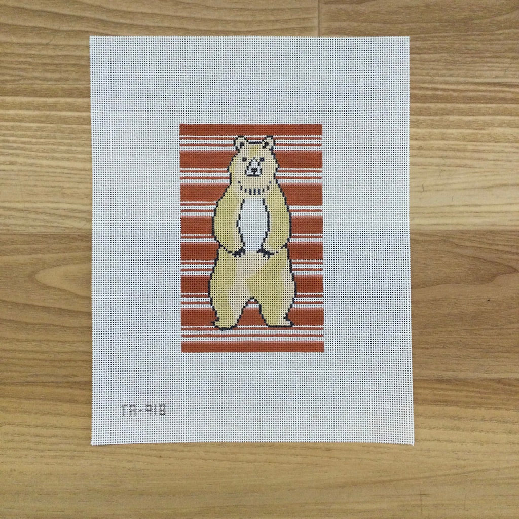 Bear on Stripes Canvas - KC Needlepoint
