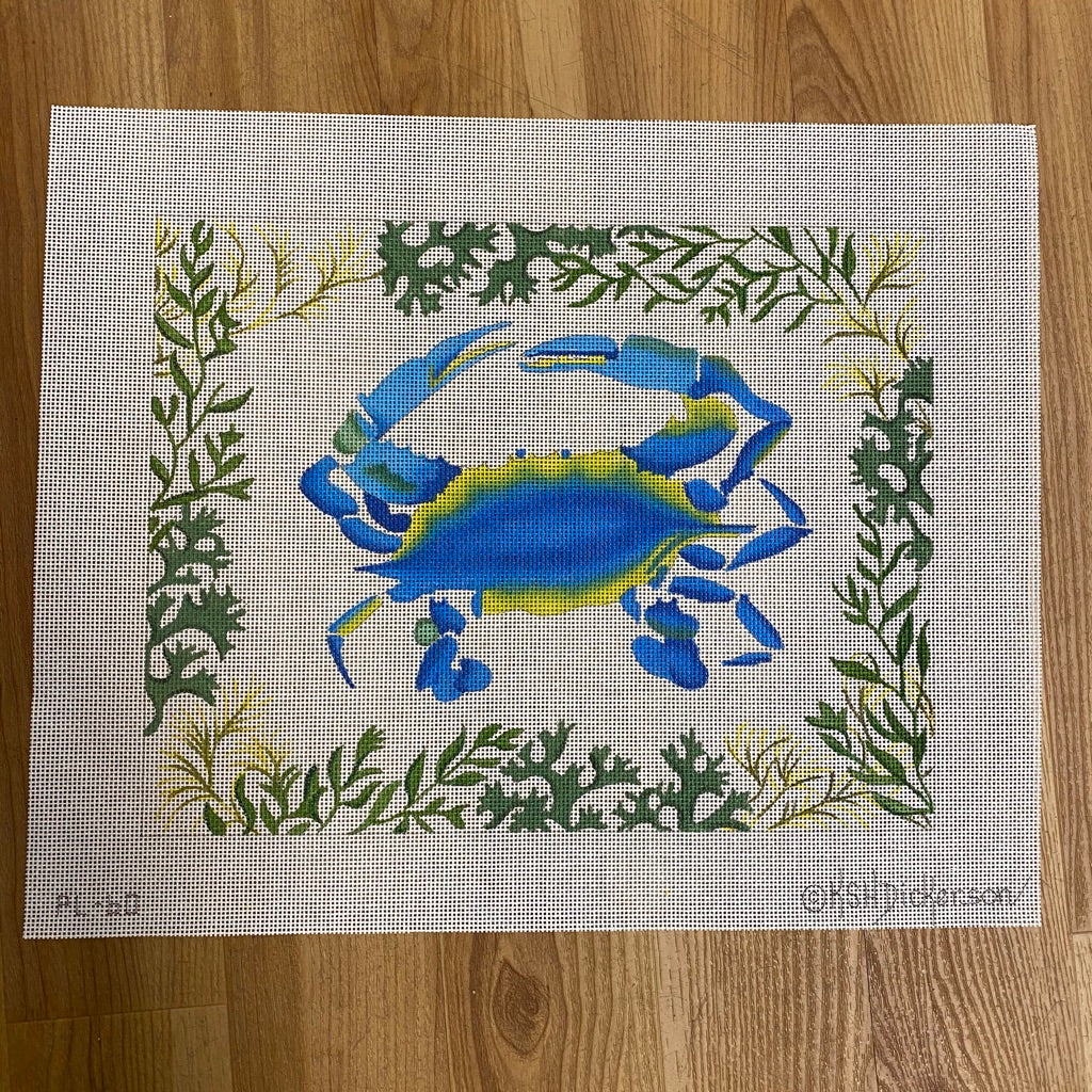 Blue Crab with Seaweed Border Canvas - KC Needlepoint
