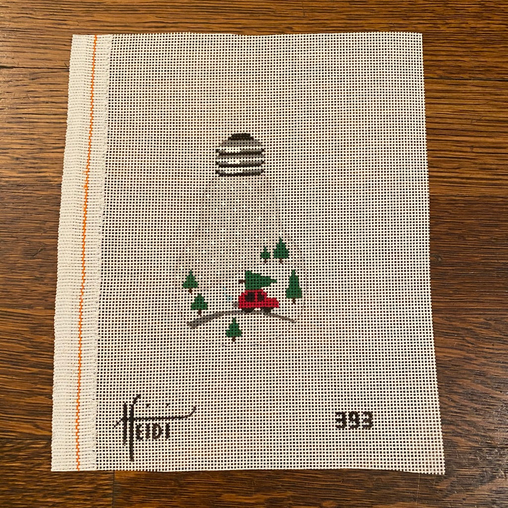 Tree on Car Light Bulb Canvas - needlepoint