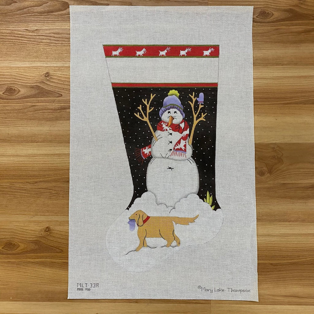 Snowman Friends and Golden Lab Stocking Canvas - needlepoint
