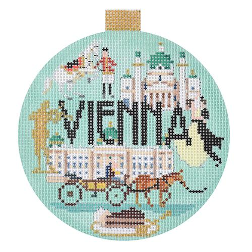 Vienna Travel Round Canvas-Needlepoint Canvas-Kirk & Bradley-KC Needlepoint