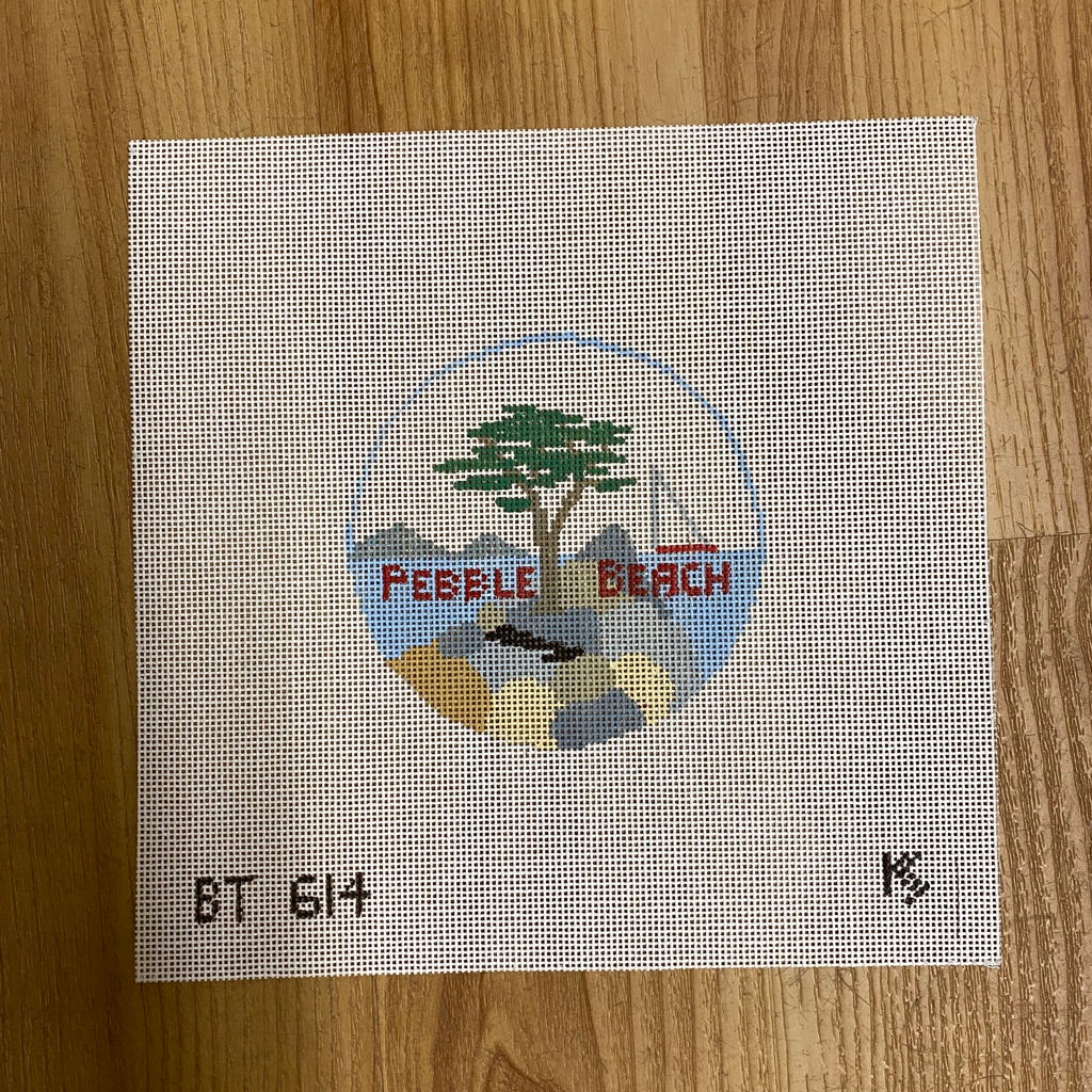 Pebble Beach Travel Round Canvas-Needlepoint Canvas-KC Needlepoint