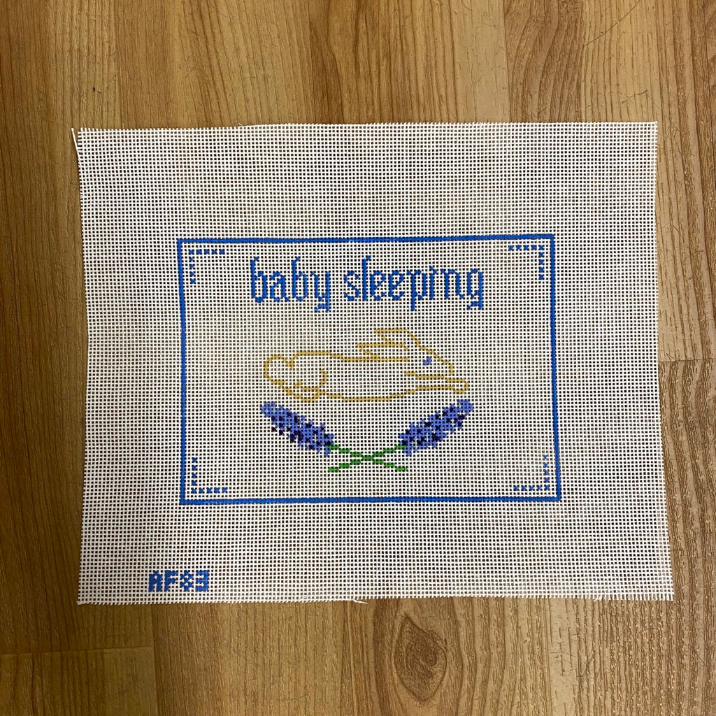 Blue Baby Sleeping Canvas - needlepoint
