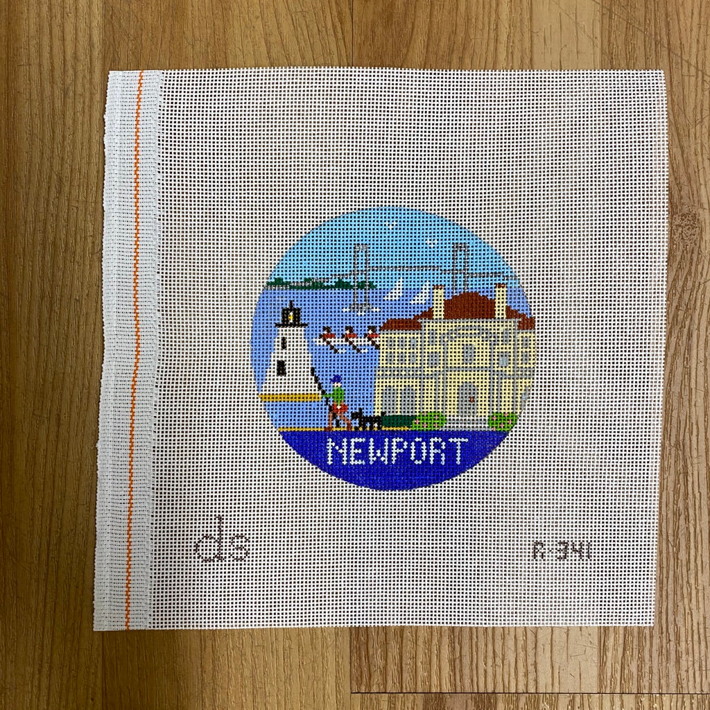 Newport Travel Round Needlepoint Canvas