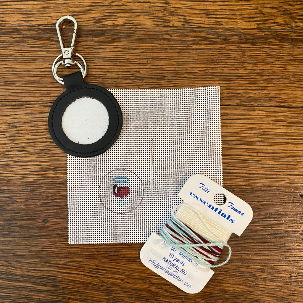 Red Wine Glass Key Fob Kit-Needlepoint Kit-KC Needlepoint