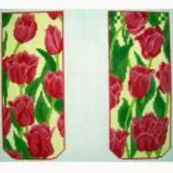 Pink Tulips Eye Glass Case Canvas - needlepoint
