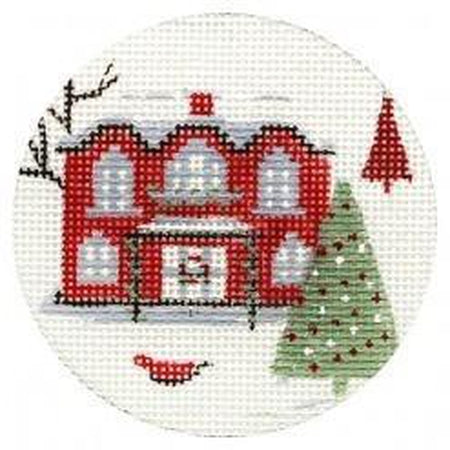Red House Ornament Canvas-Needlepoint Canvas-Alice Peterson-13 Mesh-KC Needlepoint