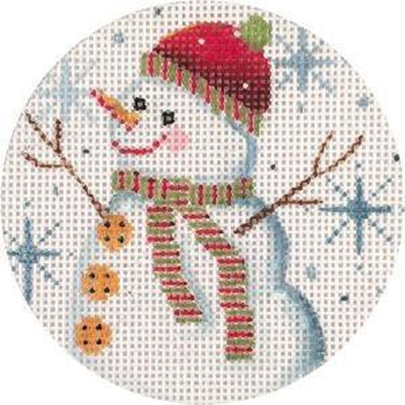 Snowman and Snowflakes Ornament Canvas - needlepoint