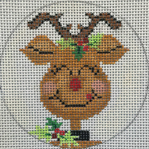 Happy Reindeer Round Canvas-Needlepoint Canvas-Alice Peterson-KC Needlepoint
