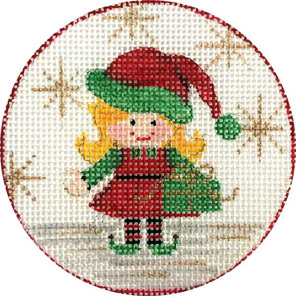 Girl Elf Canvas-Needlepoint Canvas-Alice Peterson-KC Needlepoint