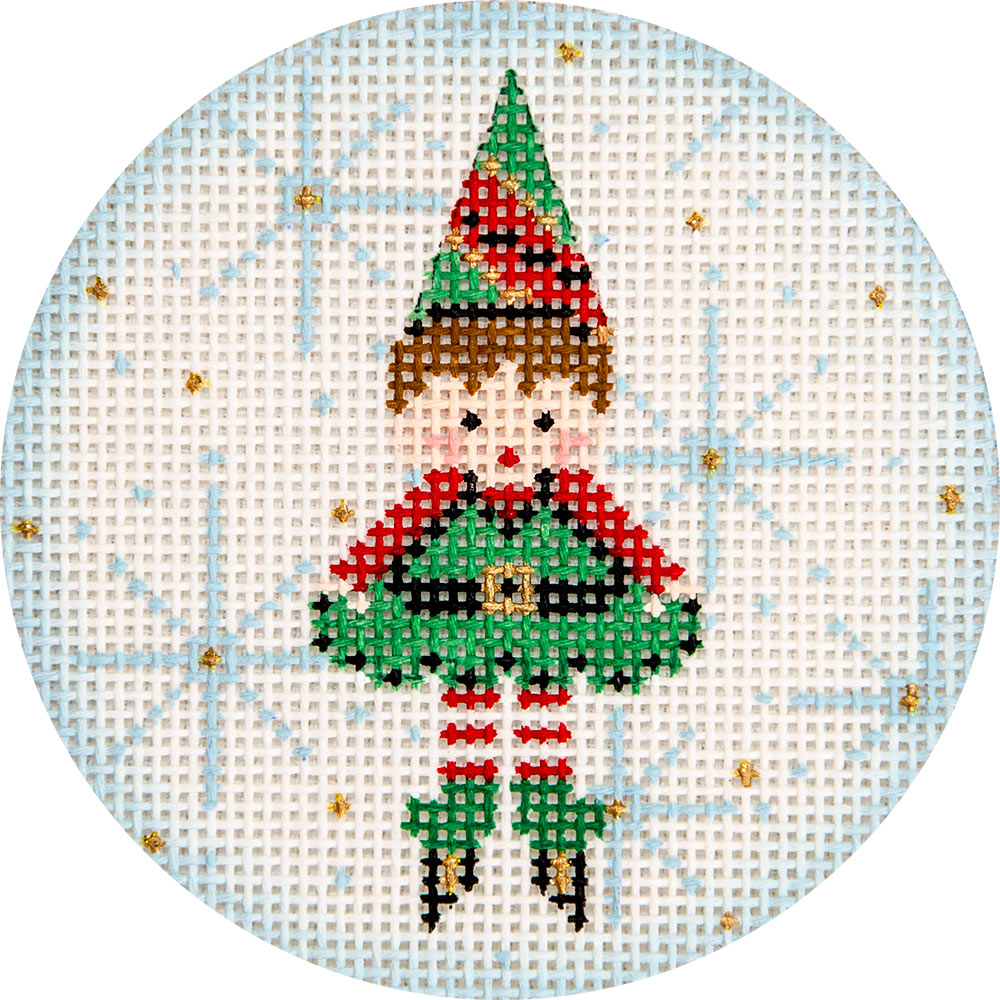 Elf and Snowflake Ornament Canvas-Needlepoint Canvas-KC Needlepoint