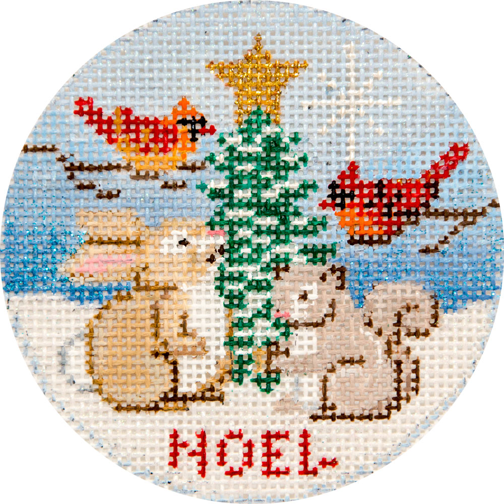 Cardinals & Woodland Animals Canvas - needlepoint