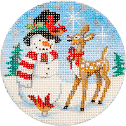 Snowman and Reindeer Canvas - KC Needlepoint