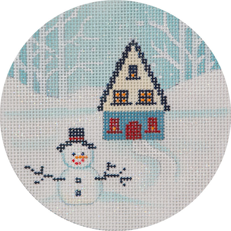 Winter House and Snowman Round Canvas