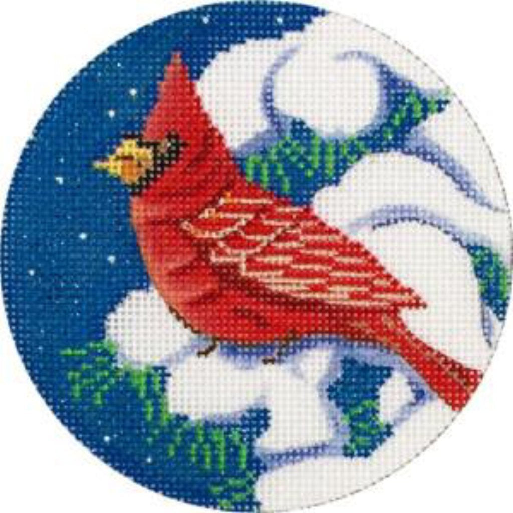 Cardinal in Tree Canvas - KC Needlepoint