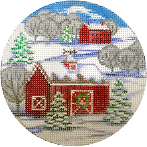 Red Barn Winter Scene Round Canvas - needlepoint